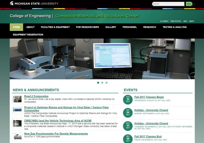 Screen shot of the Composite Materials & Structures Center homepage