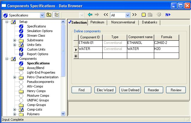 Screen shot of the Aspen components specifications - data browser.