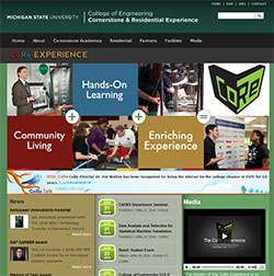 Screen shot of the Cornerstone & Residential Experience website